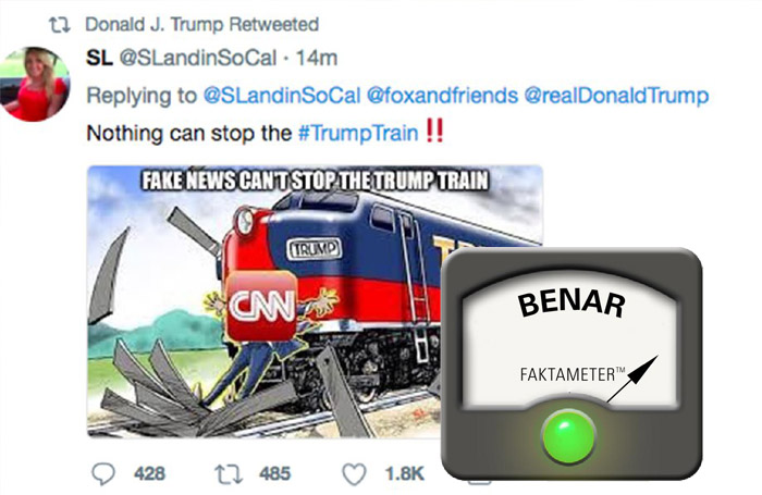 Trump Melakukan Retweet Gambar Kartun Kereta Api Menabrak Wartawan CNN?