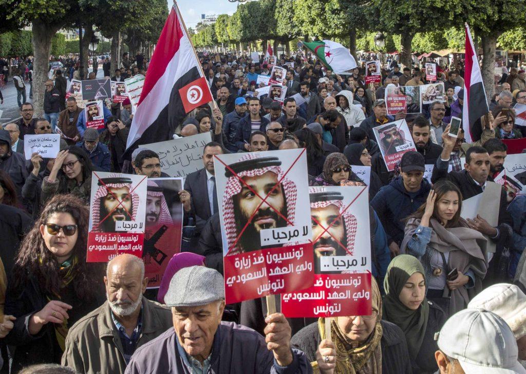 Kedatangan Putra Mahkota Arab Saudi Disambut Demonstran Tunisia
