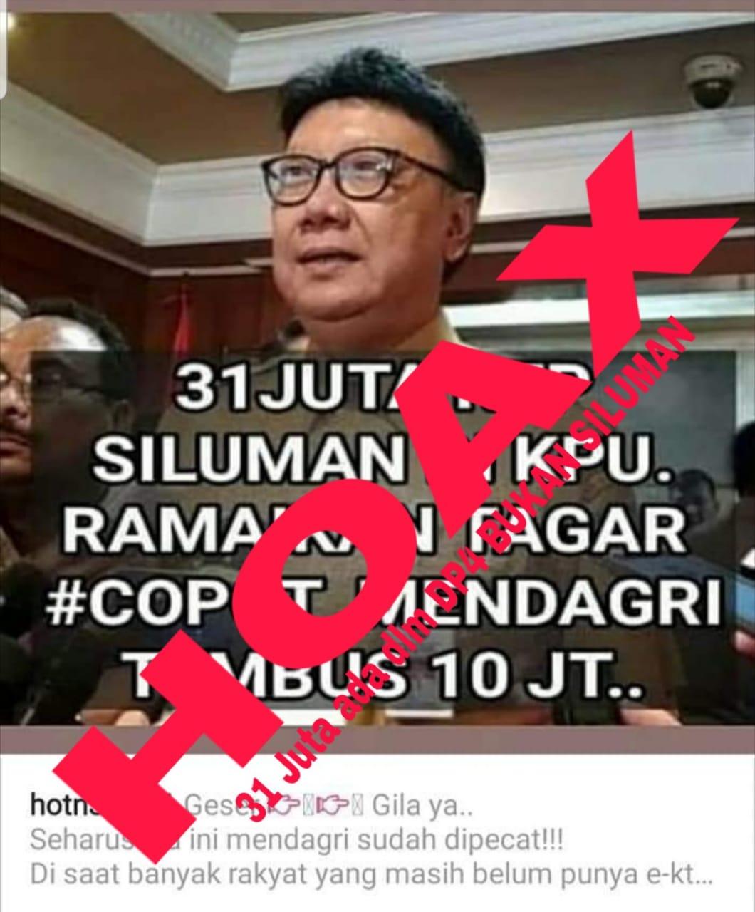 Kemendagri Pastikan Tak Ada DP4 Tambahan yang Dimasukan dalam DPT Pemilu 2019
