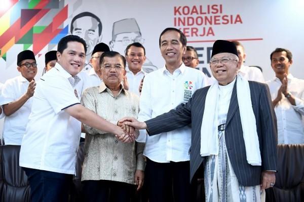 Erick Thohir, JK, Jokowi, dan Kiai Maruf. Mentor Debat, Jusuf Kalla