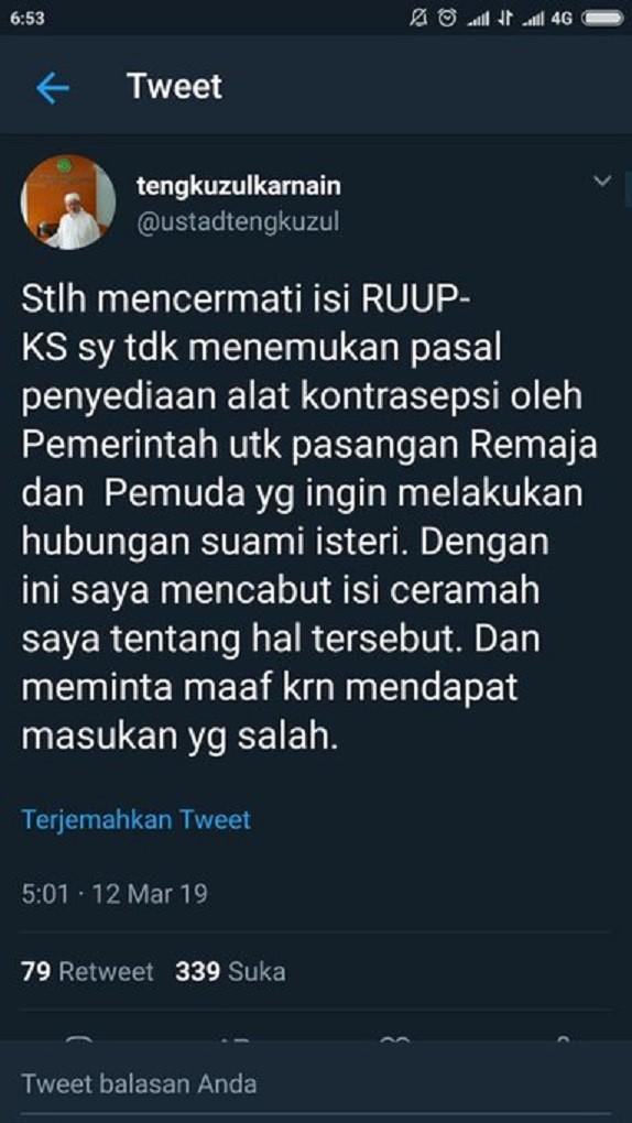 Ustadz Tengku Zulkarnain, RUU PKS