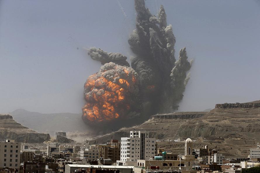 serangan udara saudi ke ibu kota yaman